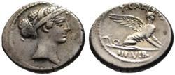 Ancient Coins - T. Carisius AR denarius - SPHINX - about good VF