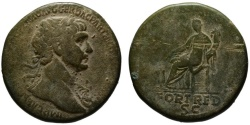 Ancient Coins - Trajan AE sestertius - FORT RED - Fortuna seated