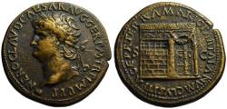 Ancient Coins - Paduan cast medal afer Cavino - NERO sestertius - Temple of Janus (RIC plate coin)