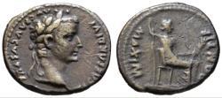 Ancient Coins - Tiberius AR denarius - Livia as Pax - Beautiful toning