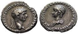 Ancient Coins - Claudius with young Nero AR denarius - Choice dynastic issue aEF