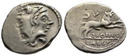 Ancient Coins - Thorius Balbus AR denarius - Juno Sospita & Bull - VF