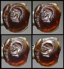 Ancient Coins - Roman orange glass intaglio - Bust of Hercules