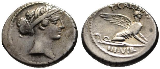 Ancient Coins - T. Carisius AR denarius - SPHINX - about good VF