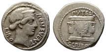 Ancient Coins - L. Scribonius Libo AR denarius - Bonus Eventus & Puteal - VF