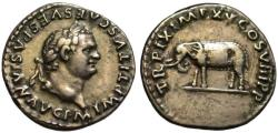 Ancient Coins - Titus AR denarius - ELEPHANT - Opening of the Colosseum - aEF