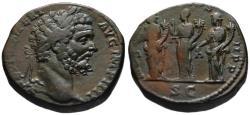 Ancient Coins - Septimius Severus AE sestertius - The Three Monetae - Choice grade