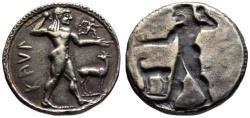 Ancient Coins - 19th C. BMC electrotype - Kaulonia AR nomos - Apollo & Incuse