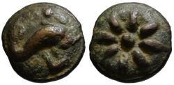 Ancient Coins - Aes Grave Teruncius - Dolphin & Star - Apulia Luceria