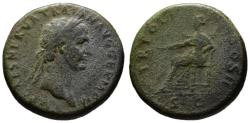 Ancient Coins - Trajan AE sestertius - PAX seated