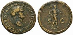 Ancient Coins - Vespasian AE sestertius - MARS advancing - VF full flan