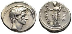Ancient Coins - Octavian Augustus AR denarius - PAX - good VF / Scarce