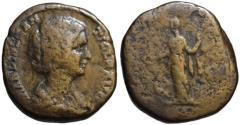 Ancient Coins - Manlia Scantilla AE sestertius - JUNO - Extr. rare Didius Julianus wife