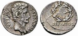 Ancient Coins - Augustus AR denarius - OB CIVIS SERVATOS - Spanish Caesaraugusta mint