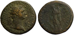 Ancient Coins - Domitian AE dupondius - FORTUNA
