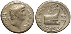 Ancient Coins - Mark Antony & Domitius Ahenobarbus AR denarius - Prow - Very Rare