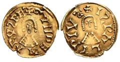 Ancient Coins - Gundemarus AV gold Tremis - ISPALI - Antique gold forgery