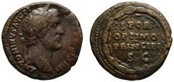 Ancient Coins - Antoninus Pius AE As - SPQR OPTIMO PRINCIPI within wreath - Very Scarce