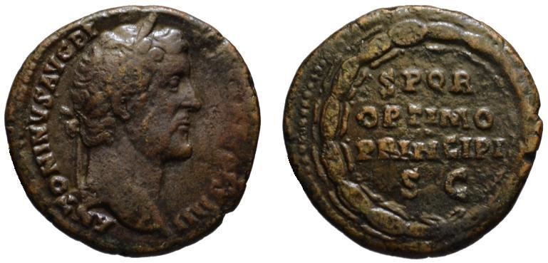 Ancient Coins - Antoninus Pius AE As - SPQR OPTIMO PRINCIPI within wreath - Very Scare