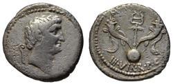 Ancient Coins - Mark Antony AR denarius - Caduceus & Cornucopias & Globe - Very Rare