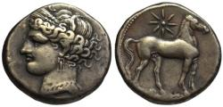 Ancient Coins - 19th C. BMC electrotype - Carthage AR double shekel - Tanit & Horse
