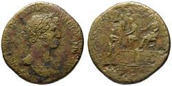 Ancient Coins - Hadrian AE sestertius - LIBERALITAS platform - (R) Rare