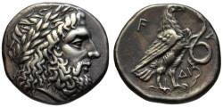 Ancient Coins - 19th C. BMC electrotype - Olympia AR stater - Zeus & Eagle