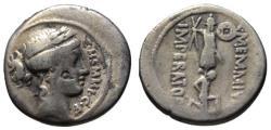 Ancient Coins - C. Memmius AR denarius - Trophy & Captive - VF 56 BC