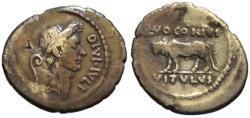 Ancient Coins - Julius Caesar AR portrait denarius - Bull - Voconius Moneyer / Rare
