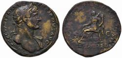 Ancient Coins - Hadrian AE sestertius - FORT RED - 118 AD