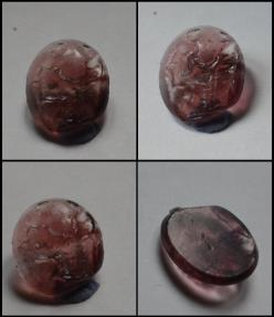 Ancient Coins - Italic glass intaglio imitating amethyst - Goddesses clasping hands - Rare