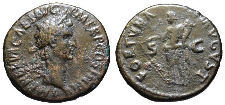 Ancient Coins - Nerva AE As - FORTUNA - VF