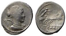 Ancient Coins - T. Carisius AR denarius - Victory - 46 BC