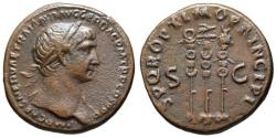 Ancient Coins - Trajan AE As - Aquila between Standards - gVF & Very Scarce