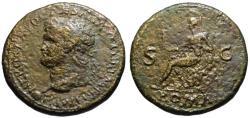 Ancient Coins - Nero AE sestertius - ROMA seated - Left facing Lugdunum mint