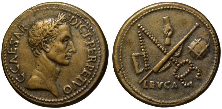 Ancient Coins - Paduan cast medal after Cavino - Julius Caesar AE sestertius - L BUCA
