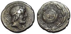 Ancient Coins - Caecilius QN Metellus AR denarius - Apollo & Macedonian shield - VF