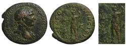 Ancient Coins - Bold portrait TRAJAN AE As - Roma & Dacian kneeling - 106-107 AD