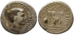 Ancient Coins - Octavian AR fourree denarius - Temple of Divus Julius - 36 BC