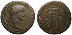 Ancient Coins - Trajan AE sestertius - IOM arch - Very Rare