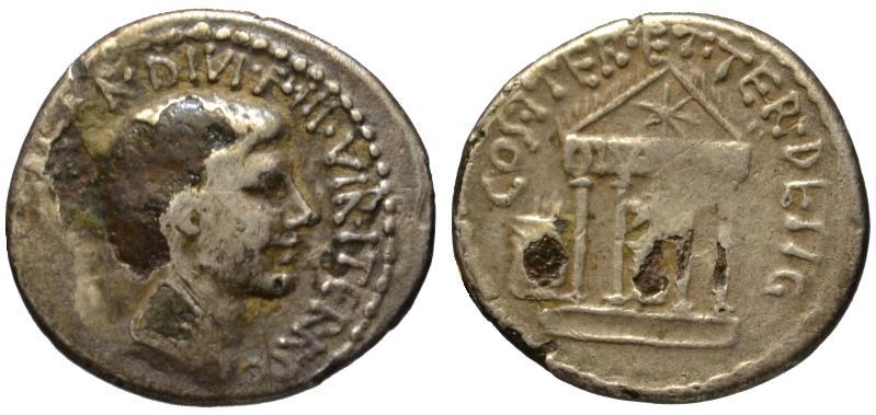 Ancient Coins - Octavian AR fourree denarius - Temple of Divus Julius - 36 BC