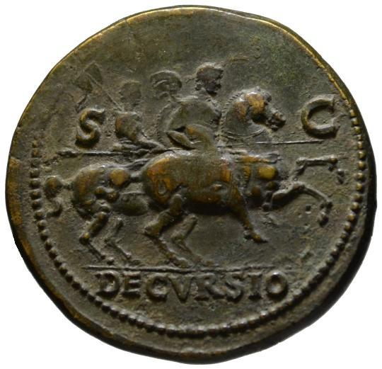 Ancient Coins - Nero AE sestertius - DECVRSIO - About good VF & Rare left facing