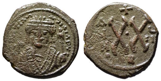 Ancient Coins - Tiberius Constantine AE half follis - Large XX - Antioch 581 AD