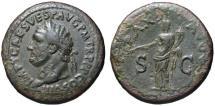 Ancient Coins - Titus AE sestertius - PAX AVGVST - Good VF portrait
