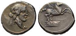 Ancient Coins - Q. Titius AR denarius - Bacchus & Pegasus - 90 BC
