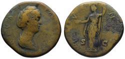 Ancient Coins - Diva Faustina Senior AE sestertius - JUNO
