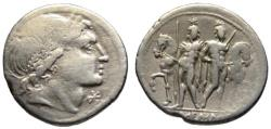 Ancient Coins - L. Memmius AR denarius - The Dioscuri - VF