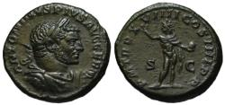 Ancient Coins - Caracalla AE As - SOL INVICTUS - Rare good VF+