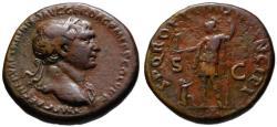 Ancient Coins - Trajan AE As - Dacian kneeling before goddess Roma - Bold VF