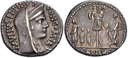 Ancient Coins - Aemilius Lepidus AR denarius - King Perseus and his sons - aEF